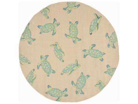 Trans Ocean Rugs Playa Sea Turtles 7'10'' Round Natural Area Rug