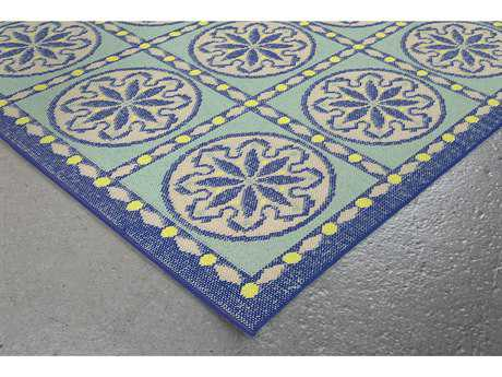Trans Ocean Rugs Playa Tile 7'10'' Square Blue Area Rug