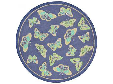 Trans Ocean Rugs Playa Butterfly 7'10'' Round Blue Area Rug
