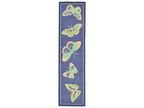 Trans Ocean Rugs Playa Butterfly 2'11'' x 7'6'' Rectangular Blue Runner Rug