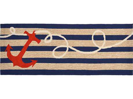Trans Ocean Rugs Frontporch Anchor 2'3'' x 6' Rectangular Navy Runner Rug