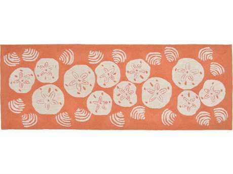Trans Ocean Rugs Frontporch Shell Toss 2'3'' x 6' Rectangular Orange Runner Rug
