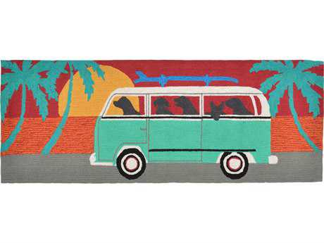 Trans Ocean Rugs Frontporch Beach Trip 2'3'' x 6' Rectangular Turquoise Runner Rug