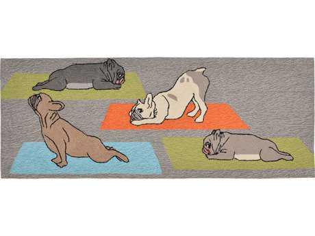 Trans Ocean Rugs Frontporch Yoga Dogs 2'3'' x 6' Rectangular Grey Runner Rug