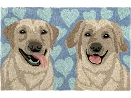 Trans Ocean Rugs Frontporch Puppy Love 2'6'' x 4' Rectangular Blue Area Rug