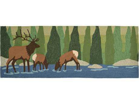 Trans Ocean Rugs Frontporch Elk 2'3'' x 6' Rectangular Green Runner Rug