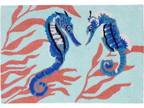 Trans Ocean Rugs Frontporch Seahorse 2'6'' x 4' Rectangular Aqua Area Rug