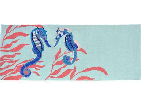 Trans Ocean Rugs Frontporch Seahorse 2'3'' x 6' Rectangular Aqua Runner Rug