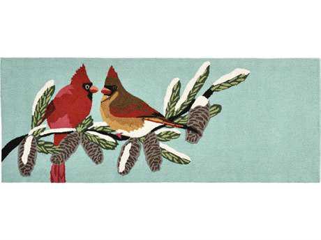 Trans Ocean Rugs Frontporch Cardinals 2'3'' x 6' Rectangular Blue Runner Rug