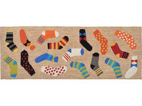 Trans Ocean Rugs Frontporch Lost Socks 2'3'' x 6' Rectangular Natural Runner Rug