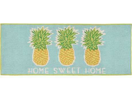 Trans Ocean Rugs Frontporch Home Sweet Home 2'3'' x 6' Rectangular Aqua Runner Rug
