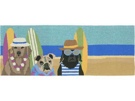 Trans Ocean Rugs Frontporch Beach Patrol 2'3'' x 6' Rectangular Blue Runner Rug