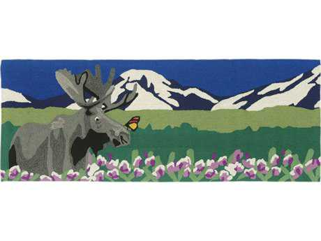 Trans Ocean Rugs Frontporch Moose 2'3'' x 6' Rectangular Green Runner Rug