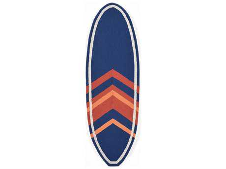Trans Ocean Rugs Frontporch Angleboard 1' 11'' x 6' Oval Navy Runner Rug