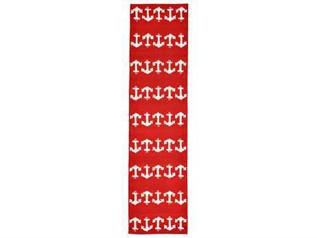 Trans Ocean Rugs Capri Anchor 2' x 8' Rectangular Red Runner Rug