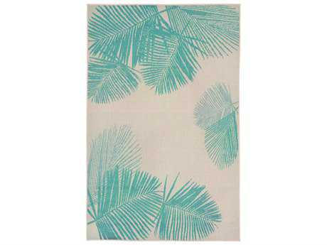 Trans Ocean Rugs Terrace Palm Rectangular Natural & Turquoise Area Rug