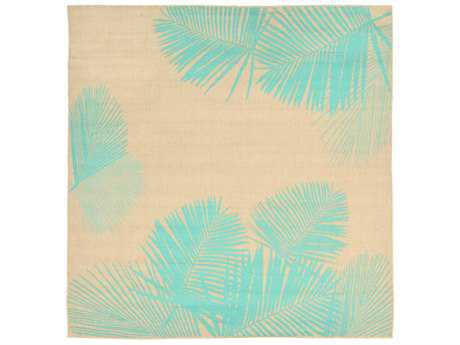Trans Ocean Rugs Terrace Palm 7'10'' Square Natural & Turquoise Area Rug