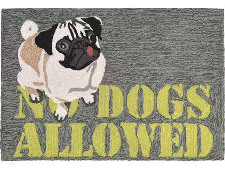 Trans Ocean Rugs Frontporch No Dogs Allowed 2'6'' x 4' Rectangular Grey Area Rug