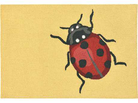 Trans Ocean Rugs Frontporch Ladybug 2'6'' x 4' Rectangular Yellow Area Rug
