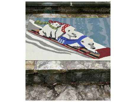 Trans Ocean Rugs Frontporch Toboggan Bears 2'3'' x 6' Rectangular White Runner Rug