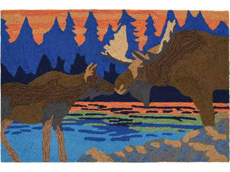 Trans Ocean Rugs Frontporch Moose Kiss Rectangular Blue Area Rug