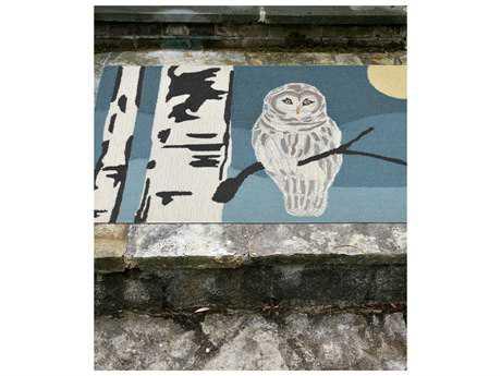 Trans Ocean Rugs Frontporch Snowy Owl 2'6'' x 4' Rectangular Blue Area Rug