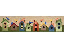 Trans Ocean Rugs Ravella Birdhouses Border 2' x 8' Rectangular Natural Runner Rug