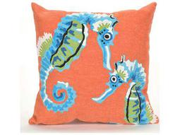 Trans Ocean Rugs Visions III Seashorse Orange & Blue Indoor / Outdoor Pillow