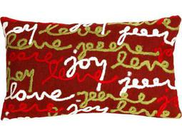 Trans Ocean Rugs Visions III Peace Love Joy Red Indoor / Outdoor Pillow