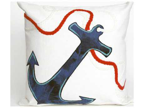 Trans Ocean Rugs Visions II Anchor White Indoor / Outdoor Pillow