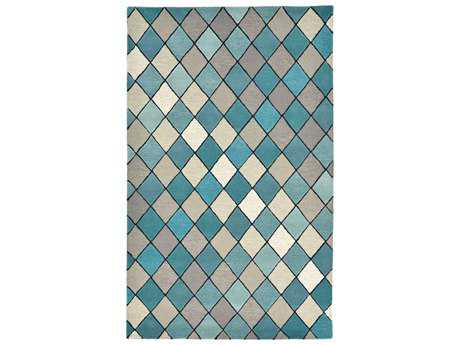 Trans Ocean Rugs Seville Diamond Rectangular Aqua Area Rug