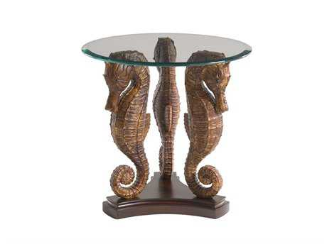 Tommy Bahama Landara 24 Round Sea Horse Lamp Table