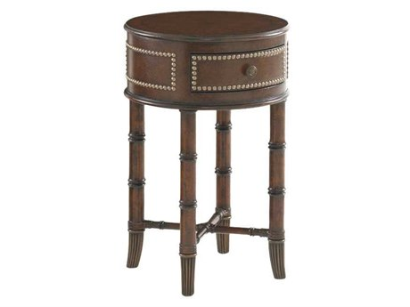 Tommy Bahama Landara 16 Round Bandera Leather Accent Table