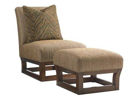 Tommy Bahama Island Fusion Tight Back Fusion Bali Side Chair & Ottoman Set