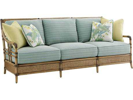 Tommy Bahama Twin Palms Seagate Loose Back Rattan Sofa