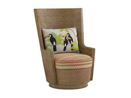 Tommy Bahama Twin Palms Lago Mar Loose Back Rattan Swivel Chair