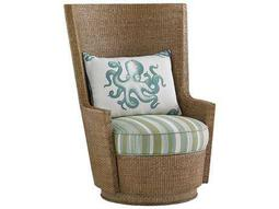 Tommy Bahama Twin Palms Lago Mar Loose Back Rattan Swivel Chair