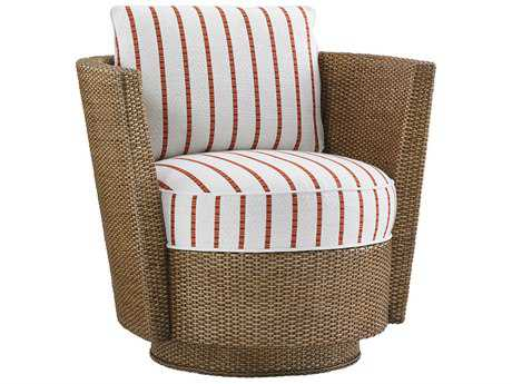 Tommy Bahama Twin Palms Tarpon Cay Loose Back Rattan Swivel Chair