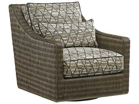 Tommy Bahama Cypress Point Hayes Loose Back Rattan Swivel Chair (Custom Upholstery)