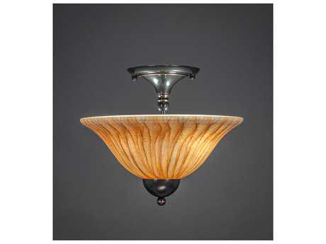 Toltec Lighting Black Copper & Tiger Glass Two-Light Semi-Flush Mount Light