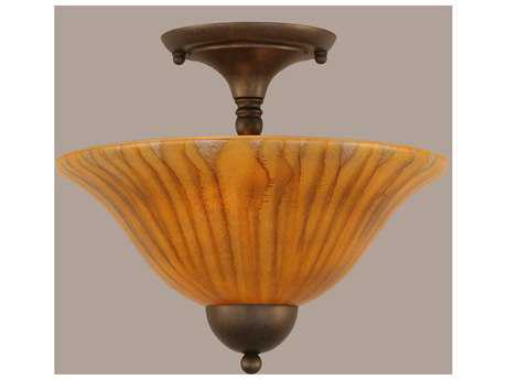 Toltec Lighting Bronze & Tiger Glass Two-Light Semi-Flush Mount Light