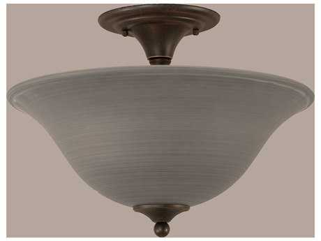 Toltec Lighting Gray Linen Glass Two-Light Semi-Flush Mount Light