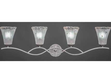 Toltec Lighting Revo Aged Silver & Fluted Frosted Crystal Glass Four-Light Vanity Light