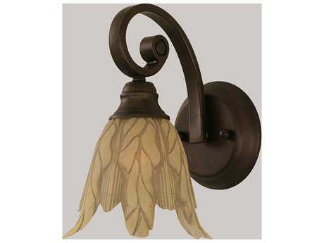 Toltec Lighting Curl Bronze & Vanilla Leaf Glass Wall Sconce