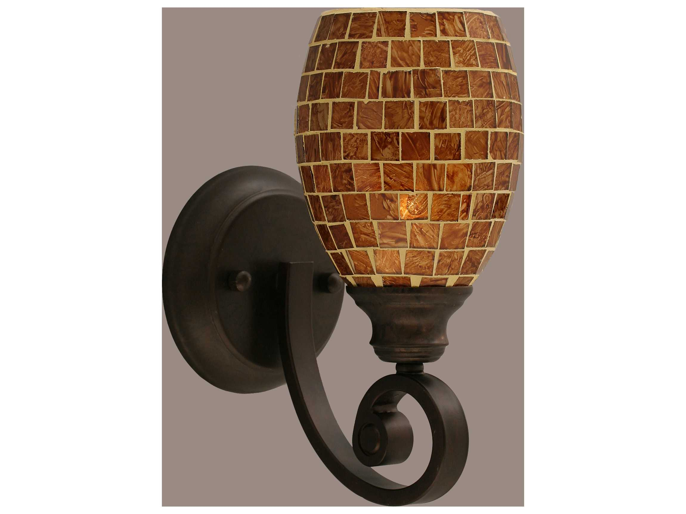 Toltec Lighting Curl Bronze & Mosaic Glass Wall Sconce TOL151BRZ409