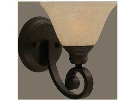 Toltec Lighting Curl Bronze & Amber Marble Glass Wall Sconce