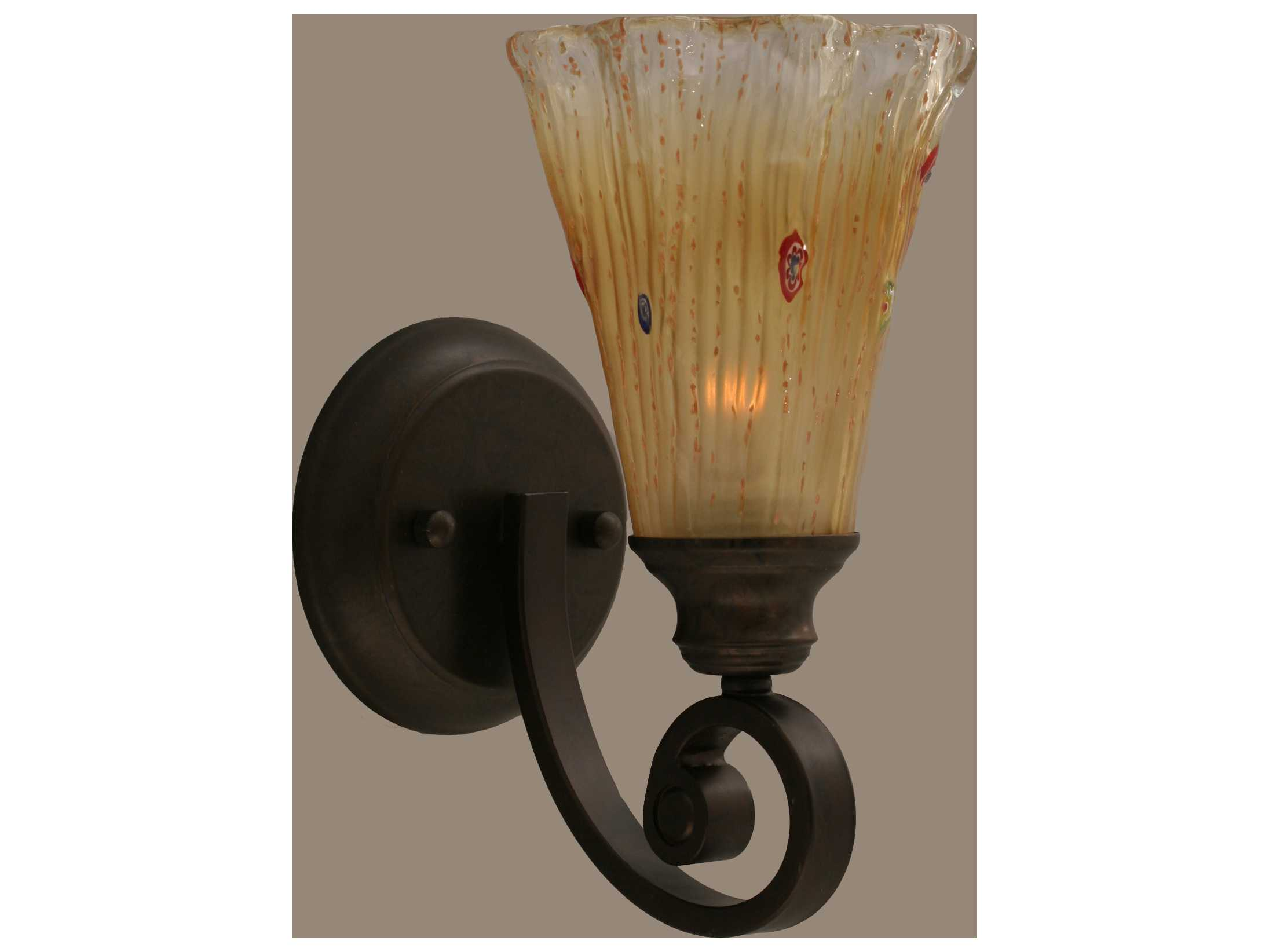 Toltec Lighting Curl Bronze & Amber Crystal Glass Wall Sconce TOL151BRZ720