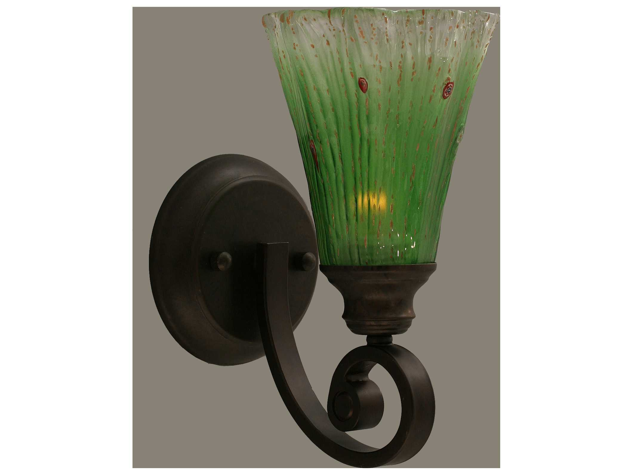 Toltec Lighting Curl Bronze & Kiwi Green Crystal Glass Wall Sconce TOL151BRZ723