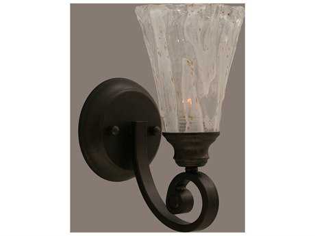 Toltec Lighting Curl Bronze & Italian Ice Glass Wall Sconce