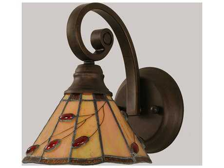 Toltec Lighting Curl Bronze & Autumn Leaves Mini Tiffany Glass Wall Sconce